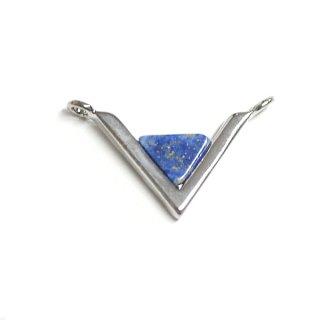 【1個】V字形〜天然石ラピスラズリ(lapis lazuli)Smallサイズシルバーコネクター