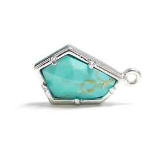 【1個】天然石ターコイズ(Turquoise)風Pentagon五角形 シルバーチャーム