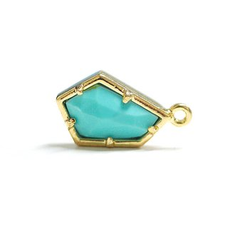 【1個】天然石ターコイズ(Turquoise)風Pentagon五角形 ゴールドチャーム