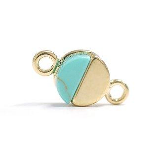 【1個】1点もの〜天然石ターコイズ(Turquoise)風プチ円形ゴールドコネクター