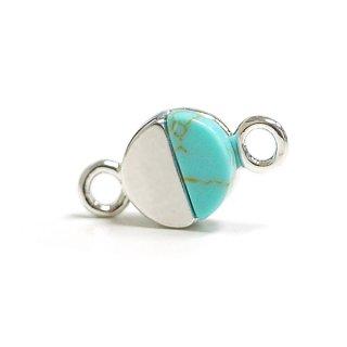 【1個】1点もの〜天然石ターコイズ(Turquoise)風プチ円形シルバーコネクター