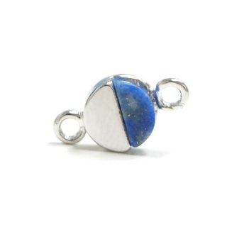 【1個】1点もの〜天然石ラピスラズリ(lapis lazuli)プチ円形シルバーコネクター