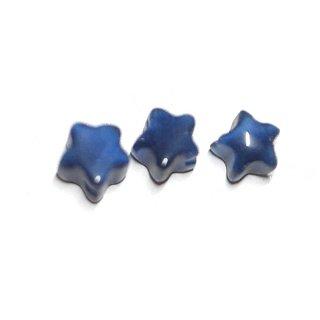 【10個入り】星形 キャッツアイ〜Royal Blueカラースター両穴ビーズ|ハンドメイド材料|アクセサリーパーツ
