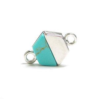 【1個】天然石ターコイズ(Turquoise)風ヘキサゴン形シルバーコネクター