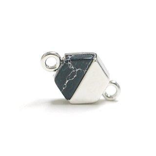 【1個】天然石ソーダライト(Sodalite)風ヘキサゴン形シルバーコネクター