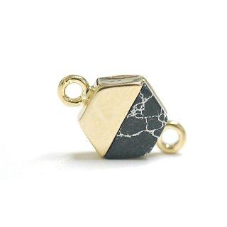【1個】天然石ラピスラズリ(lapis lazuli)ヘキサゴン形ゴールドコネクター