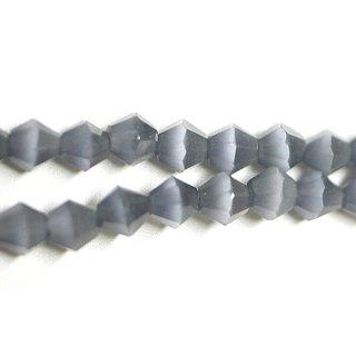 【15個入り】天然石キャッツアイ〜Diamondカットチャコールグレーカラー4mmビーズ|ハンドメイド材料|アクセサリーパーツ