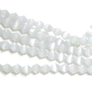 【15個入り】天然石キャッツアイ〜Diamondカットライトグレーカラー4mmビーズ|ハンドメイド材料|アクセサリーパーツ