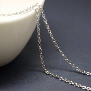 【1メートル 1meter】約1.23mm 純ロジウムシルバー真鍮チェーン