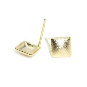 【1ペア】SV925芯!約7mmLUXU正方形質感ある光沢ゴールドピアス、パーツ