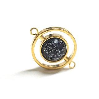 【1個】宇宙〜天然石ソーダライト(Sodalite)風Dpuble Circle Earth Ballゴールドコネクター
