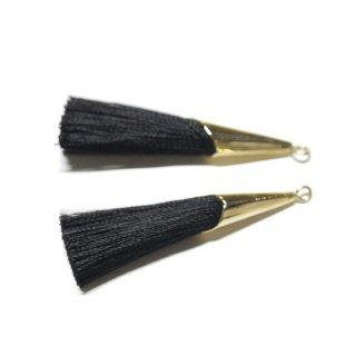 【2個入り】シックなブラックBlackカラーロング糸タッセル シンプルゴールドキャップ付きチャーム