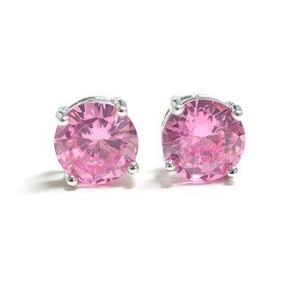 【2個(1ペア)】SV925刻印あり!Fancy Pinkファンシーピンクカラー約8mmキュービックジルコニアシルバー925ピアス