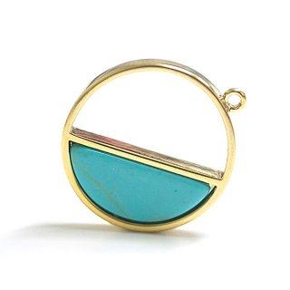 【1個】宇宙〜天然石ターコイズ(Turquoise)風Half Moonゴールドチャーム