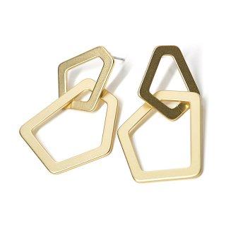 【1ペア】チタン芯!重なった大ぶり不規則なフレームのマットゴールドピアス