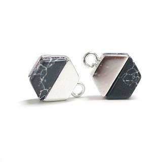 【1個】天然石ソーダライト(Sodalite)風ヘキサゴン形シルバーチャーム