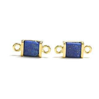 【1個】ラピスラズリ(lapis lazuli)プチ正方形ゴールド両側カン付きチャーム