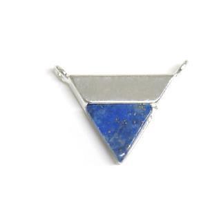 【1個】1点もの〜天然石ラピスラズリ(lapis lazuli)三角形シルバーコネクター