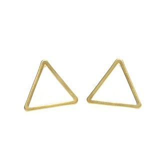 【1ペア】925刻印芯!15*1mm 三角形マッドゴールドシルバー925芯ピアス、パーツ