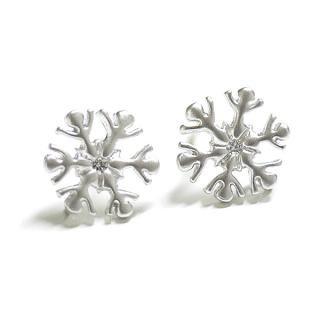 【2個(1ペア)】SV925刻印あり!Crystal of snow雪の結晶モチーフマットシルバー シルバー925芯カン付きポスト