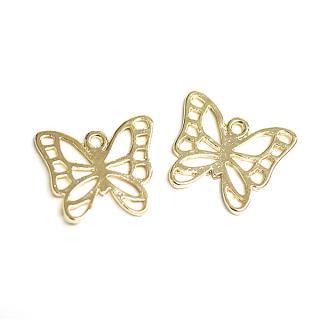 【4個入り】透かし蝶々Butterflyモチーフ光沢ゴールドチャーム