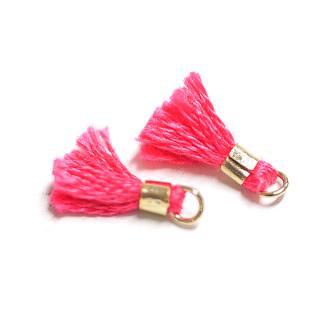 【4個入り】刺繍糸tasselレッドピンクカラーMediumタッセル、チャーム