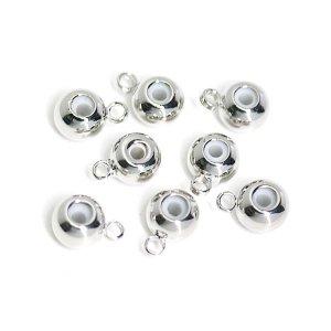 【6個入り】カン付き!ゴム入りの直径約5mmスライドボールシルバー留め金具、エンドパーツ