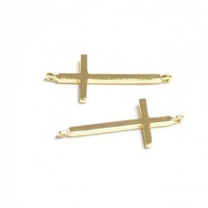 【2個入り】タテカン!洗練された華奢なクロスモチーフ光沢ゴールド両カンチャーム、パーツ