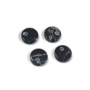 【1個】約6 × 6mmブラックマーブル風円形チャーム