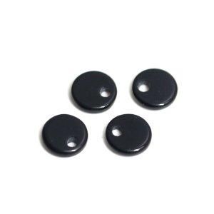 【1個】約6 × 6mmブラックカラー円形穴あり!チャーム
