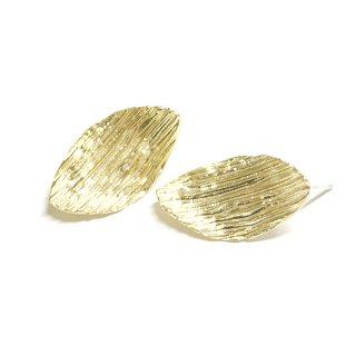 【1ペア】SV925刻印芯!質感あるShape Ovalオーバル形マットゴールドカン付きピアス
