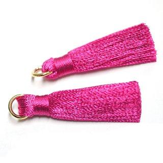 【4個入り】RosePinkローズピンクカラー約30mmカン付きタッセル、チャーム