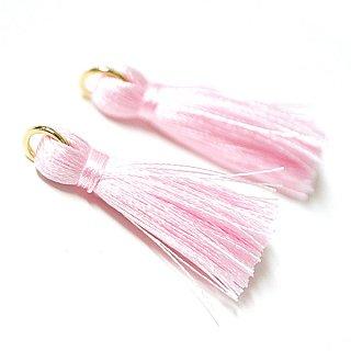 【4個入り】Light Pinkライトピンクカラー約30mmカン付きタッセル、チャーム
