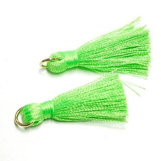 【2個入り】Neon Greenネオングリーンカラー約30mmカン付きタッセル、チャーム
