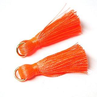 【4個入り】Neon Orangeネオンオレンジカラー約30mmカン付きタッセル、チャーム