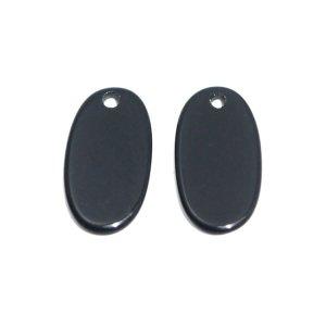 【1個】約10 × 15mmブラックカラー楕円形穴あり!チャーム