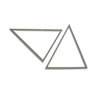 【1個】しっかりした光沢シルバーTriangle三角形40×50mmチャーム