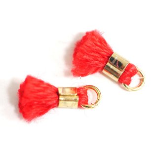 【6個入り】刺繍糸tasselレッドカラーミニタッセル|ハンドメイド材料|アクセサリーパーツ