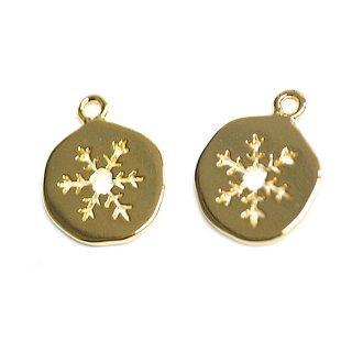 【2個入り】手作り感ある歪み円形に刻まれた雪の結晶!ゴールドチャーム、パーツ