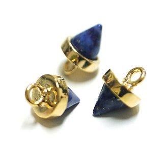 【1個】Petit Triangle立体的な三角形ラピスラズリ (lapis lazuli) ゴールドチャーム、パーツ|アクセサリーパーツ