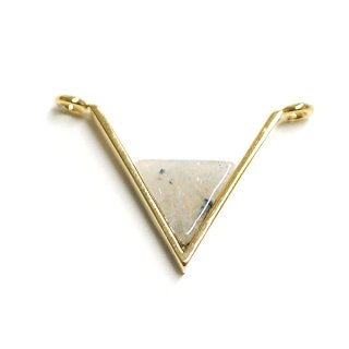 【1個】V字形〜天然石ラブラドライト(Labradorit)風Mediumサイズゴールドコネクター