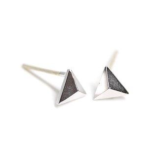 【1ペア】925刻印芯!約5mm立体的なプチ三角形マットシルバーカン付きピアス、パーツ