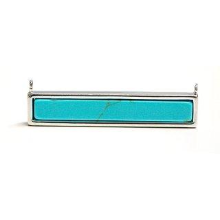 【1個】天然石ターコイズ(Turquoise)風長方形シルバー両側カン付きチャーム