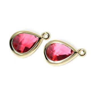 【2個入り】RubyカラーガラスTiny Drop形ゴールドチャーム NF