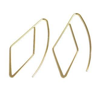 【2個(1ペア)】約38mmダイヤモンド形ゴールドピアスフック