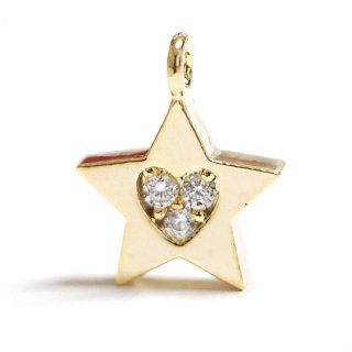 【1個】STAR星モチーフの中にハート!3粒の輝き!厳選のCZキュービックジルコニアゴールドペンダントチャーム
