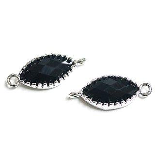 【1個】マキーズカットOnyx BlackオニキスブラックカラーGlass楕円形シルバーコネクター、パーツ