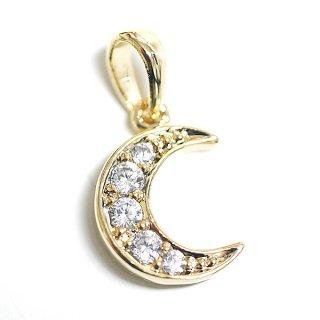 【1個】5粒CZ!厳選されたキュービックジルコニアの月(Moon)モチーフゴールドペンダントチャーム