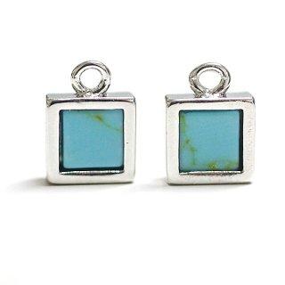 【1個】1点もの〜ターコイズ(Turquoise)正方形シルバーチャーム