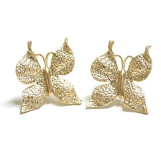 【1ペア】SV925芯!Butterfly蝶モチーフのマットゴールドカン付きピアス、パーツ
